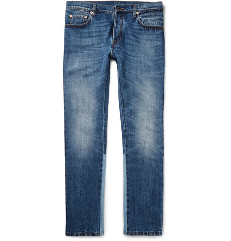 Valentino Slim-fit Panelled Stretch-denim Jeans In Blue
