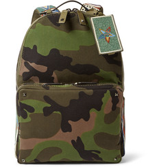 Valentino Camouflage-Print Canvas Backpack