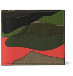 Valentino Camouflage-Print Canvas and Textured-Leather Billfold Wallet