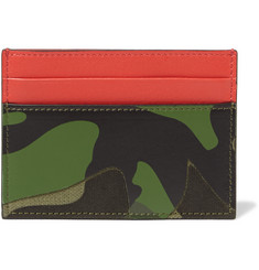 Valentino Camouflage Print Textured-Leather Card Case