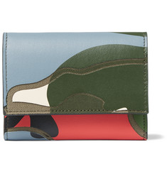 Valentino - Camouflage-Print Leather Business Card Holder