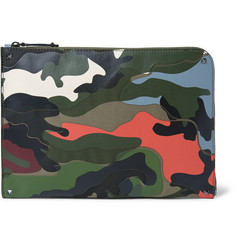 Valentino - Camouflage-Print Leather and Canvas Pouch