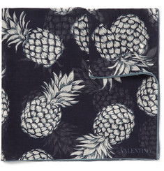 Valentino Pineapple-Print Cotton and Silk-Blend Pocket Square