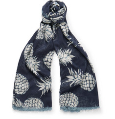 Valentino Pineapple-Print Cotton and Silk-Blend Voile Scarf