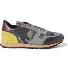 Valentino Camouflage-Print Canvas, Leather and Suede Sneakers
