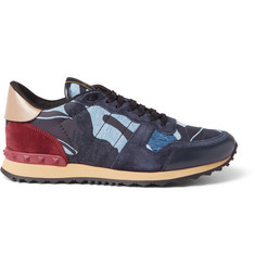 Valentino Leather, Suede and Denim Sneakers