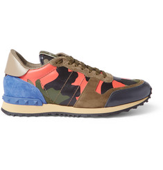 Valentino Leather, Suede and Canvas Sneakers