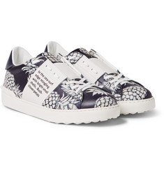 Valentino - Pineapple-Print Leather Sneakers