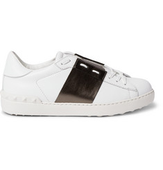Valentino Metallic-Striped Leather Sneakers
