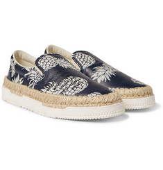 Valentino - Pineapple-Print Leather Espadrilles