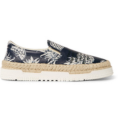 Valentino Pineapple-Print Leather Espadrilles