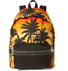 Saint Laurent Leather-Trimmed Palm Tree-Print Canvas Backpack