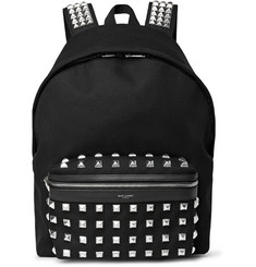 Saint Laurent Studded Leather-Trimmed Cotton-Twill Backpack