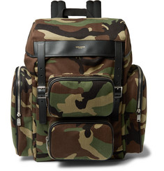 Saint Laurent - Leather-Trimmed Camouflage-Print Canvas Backpack