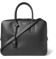 Saint Laurent Museum Pebble-Grain Leather Briefcase