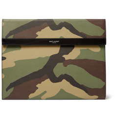 Saint Laurent Camouflage-Print Pebble-Grain Leather Pouch