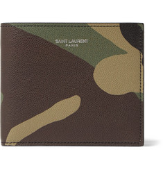 Saint Laurent Camouflage-Print Pebble-Grain Leather Billfold Wallet