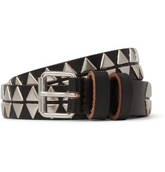 Saint Laurent 2cm Black Studded Leather Belt
