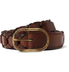 Saint Laurent - 2.5cm Brown Braided Leather Belt