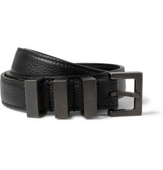 Saint Laurent 2cm Black Grained-Leather Belt