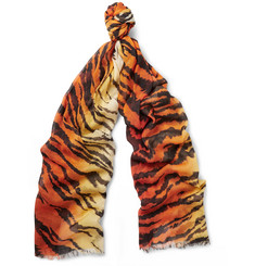 Saint Laurent Tiger-Print Wool and Silk-Blend Scarf