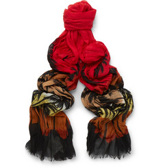 Saint Laurent Palm Tree-Print Wool Scarf