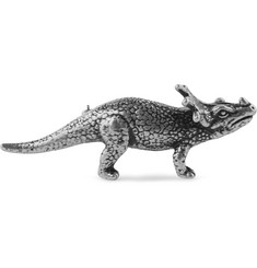 Saint Laurent Silver-Tone Dinosaur Badge