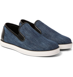 Bottega Veneta - Leather-Trimmed Denim Slip-On Sneakers