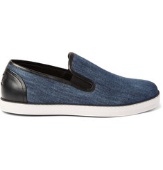 Bottega Veneta Leather-Trimmed Denim Slip-On Sneakers