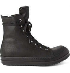Rick Owens Coated Canvas High-Top Sneakers