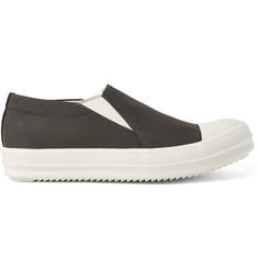 Rick Owens Leather-Toecap Gabardine Slip-On Sneakers