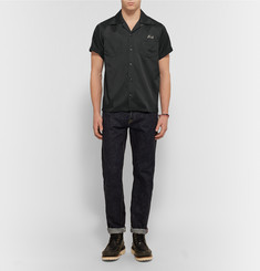 Visvim - Irving Camp-Collar Embroidered Satin-Twill Shirt