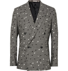 Paul Smith - Grey Slim-Fit Paint-Splattered Double-Breasted Houndstooth Linen Blazer