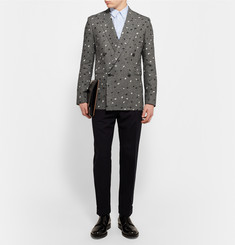 Paul Smith Grey Slim-Fit Paint-Splattered Double-Breasted Houndstooth Linen Blazer