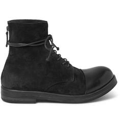 Marsell Brushed-Nubuck and Leather Boots