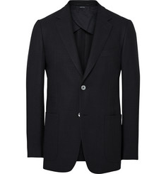 Dunhill Blue Slim-Fit Wool and Silk-Blend Hopsack Blazer