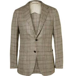Dunhill Brown Houndstooth Checked Silk, Linen and Wool Blend Blazer