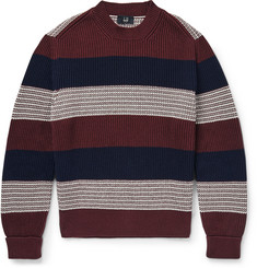 Dunhill Slim-Fit Striped Ribbed Cotton Sweater
