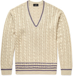 Dunhill Slim-Fit Cable-Knit Silk Sweater