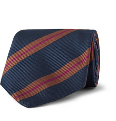 Dunhill - Striped Mulberry Silk-Faille Tie