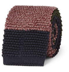 Dunhill - Colour-Block Knitted Mulberry Silk Tie