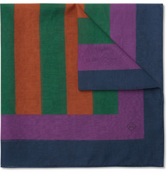 Dunhill Colour-Block Cotton snd Silk-Blend Pocket Square