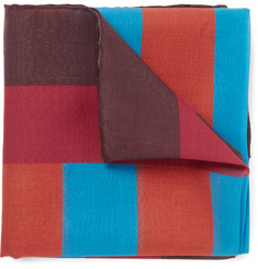 Dunhill Colour-Block Cotton and Silk-Blend Pocket Square