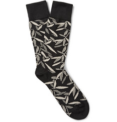 Paul Smith Shoes & Accessories Leaf-Print Stretch Cotton-Blend Socks