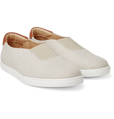 WANT LES ESSENTIELS - Tesla Leather-Trimmed Canvas Slip-On Sneakers