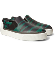 Lanvin - Zebra-Print Grained-Leather Slip-On Sneakers