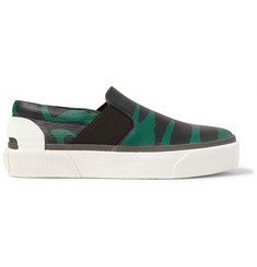 Lanvin Zebra-Print Grained-Leather Slip-On Sneakers