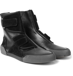 Lanvin - Panelled Leather and Suede High-Top Sneakers