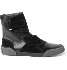 Lanvin Panelled Leather and Suede High-Top Sneakers