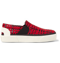 Lanvin Woven Suede and Leather Slip-On Sneakers